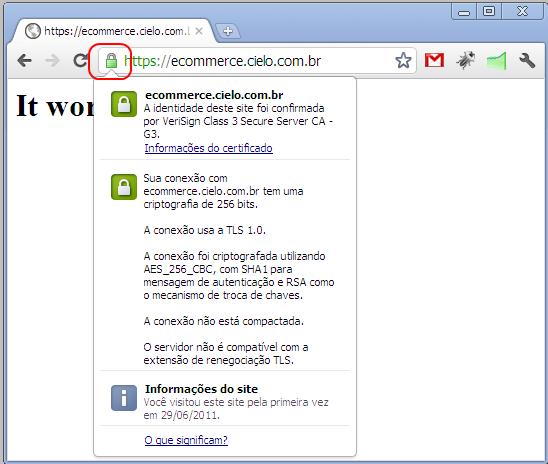 Certificado no Google Chrome