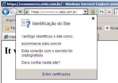 Certificado no Internet Explorer